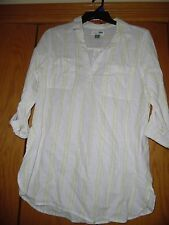 Old Navy Women's Long Sleeve White Striped Linen Cotton Blend Shirt Tunic Sz L