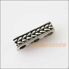 10 New 3Holes Bars Connectors Charms Tibetan Silver Tone Spacer Beads 4x15mm