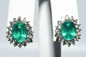 3.60CT OVAL CUT GREEN EMERALD & WHITE TOPAZ CLUSTER HALO EARRINGS .925 SILVER