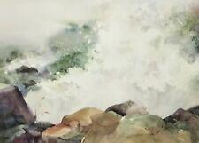 Superb Framed Artist Signed BLAINE Watercolor Shoreline Landscape Painting