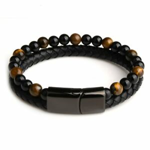 2020 Fashion Men Jewelry Natural Stone Genuine Leather Bracelet Black Stainless