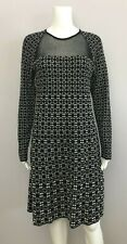 M MISSONI Black White Knit Rayon Blend A-Line Dress, sz 46