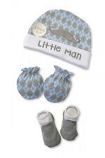 Baby Boys Hat, Socks and Mitten Winter Set - Little Man - (0-6 Months)