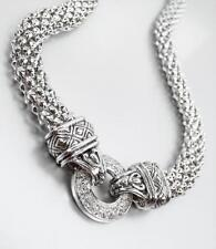 CLASSIC Designer Silver Crystals Ring BALINESE Filigree Mesh Chain Necklace