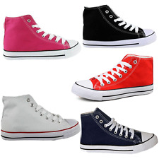 LADIES WOMENS HIGH TOP LACE UP FLAT CANVAS PUMPS TRAINER PLIMSOLLS SHOES-CF6001