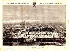 GRAVURE SUR BOIS FRANCE ILLUSTREE PAR MALTE BRUN 19è PARIS PLACE DE LA CONCORDE