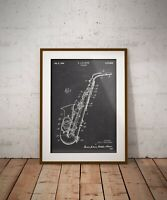 Saxophone Patent Print, Music Instrument Art Poster, Gift for Jazz Player, Sax