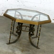 ON SALEHollywood Regency Wrought Iron Dining Table Octagon Gilt Wood & Glass Top