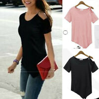 Fashion Women's Casual Cold Shoulder Short Sleeve Tee Tops Summer Blouse T-Shirt