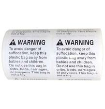 Suffocation Warning Label Stickers 500 Stickers (1 Roll) 5.08 cm2 Font size 12