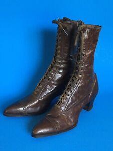 Antique VICTORIAN Edwardian Boots BROWN LEATHER Corset Lace Up ROBERTS JOHNSON R