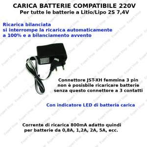 CARICA BATTERIE 7,4V 2S LIPO E LITIO DRONE E NON SOLO carica bilanciata