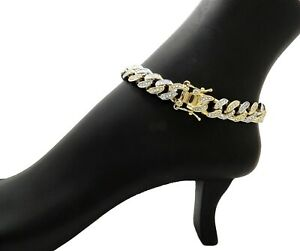 """WOMEN HIP HOP 12mm 12"""" TWO TONE ICED CUBAN LAB DIAMOND CHAIN FASHION ANKLET"""