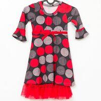 Polka Dot Dress 5 Girls Black Red Gray Ruffle Trim Winter Casual Tie