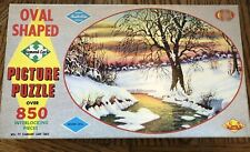 Vintage Warren Built-Rite Jigsaw Puzzle Winter Idyll Picture Oval 850+ Pieces