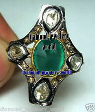 Emerald Studded Silver Ring Jewelry Victorian 1.18Cts Rose Antique Cut Diamond
