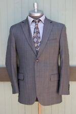 Barneys New York Verona Loro Piana 130's Wool Two Button Gray Check Blazer 40R