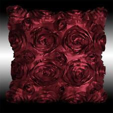 """RAISED BURGUNDY 3D RIBBON ROSES FAUX SILK THROW PILLOW CASE CUSHION COVER 16"""""""
