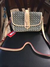 New Dooney & Bourke Large Equestrian Sign Crossbody Handbag Canvas Leather $230