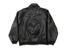 Avirex New York Black Polyester Faux Leather Bomber Jacket Kid's Size XL