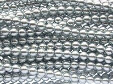 SILVER Czech glass round pearl beads - string of 75 beads - 8mm