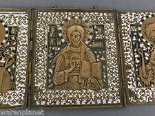 REISEIKONE Triptychon IKONE RUSSISCH BRONZE EMAILIE russian icon triptych