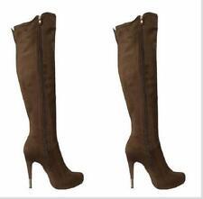 Occident Womens Platform Round Toe Side Zip High Heel Stiletto Knee High Boots