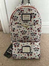 Loungefly Disney Minnie Mickey Love Heart Mini Backpack And Wallet Set