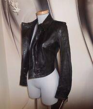 TOP DESIGNER Belstaff  REAL Leather BLACK FITTED BIKER JACKET SIZE 10