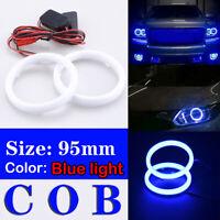 95mm Universal DRL COB LED Angel Eyes Halo Ring Fog Headlight Lamp Light Blue