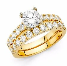 3.5 CT Engagement Bridal Ring band set Round Cut SOLID 14k Yellow Gold