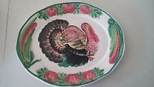 Oval shaped Glass Plate, Turkey, hanging wall plaque / serving tray 18.5 inches