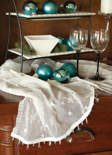 """Heritage Lace White Wind Chill 14"""" x 36"""" Table Runner with Snowflake Trim"""