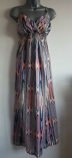 Size 10 Dress Orange Green Blue Yellow CHEROKEE Long Maxi Excellent Condition