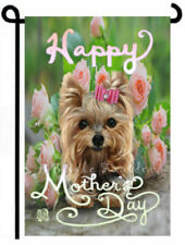 YORKIE GARDEN FLAG dog art MOTHER's DAY pink ROSES Yorkshire Terrier painting