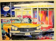 Öl-Bild Leinwand US 1959 BUICK Invicta Hardtop-Coupe an ESSO-Tankstelle 78x108