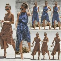 Women Spotted Halter Neck Wrap Dress Ladies Party Casual Ruffle Sun Dress Summer