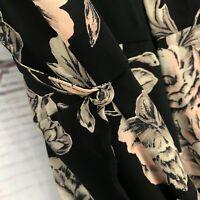 ASTR Size Small Black Faux Wrap Floral Black Strappy V Neck Slit Maxi Dress
