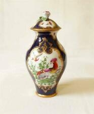 ANTIQUE 19TH CENTURY PORCELAIN VASE AND COVER PAINTED IN 18TH C WORCESTER STYLE