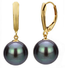 12MM Black South Sea Shell Pearl Round Beads 14K GP Hook Dangle Earrings AAA+