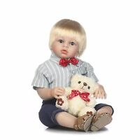 @@Handmade Reborn Blonde Baby Boy Toddler Doll Vinyl Silicone Kid Play Doll 28''