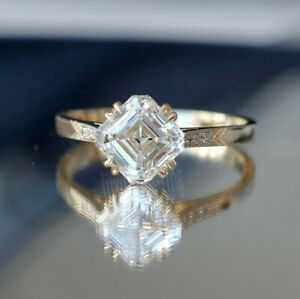 1.6Ct Colorless Asscher Moissanite Antique Engagement Ring 14k Solid Yellow Gold