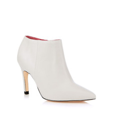 4bef4fce78cd BNIB Jasper Conran White Leather High Slim Heel Designer Ankle Short Boots  sz 7