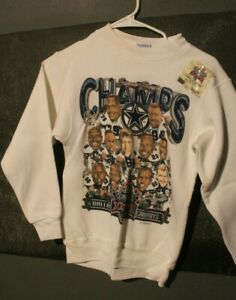 OLD STOCK DALLAS COWBOYS SUPER BOWL SWEATSHIRT Large TEAM CARICATURE youth