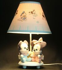 Disney baby Mickey Mouse Minnie Donald table lamp night light & shade Vtg 80's