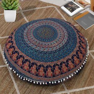 "Mandala Large Meditation Pouf Sham 32"" Cushion Gift Floor Pillow Cover Cotton"