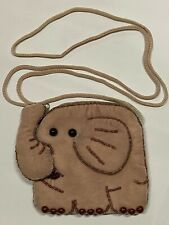 Elephant Velvet Beaded Handmade Bag Pouch Long Strap Beige Brown Zipper