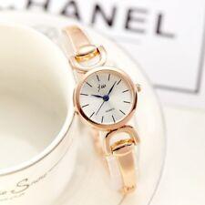 Rose Gold Womens Round Face Stylish Dress Quartz Double D Bracelet Band Watches