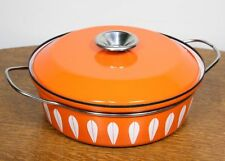 Vintage Cathrineholm Lotus Dutch Oven Saucepan with Lid. Orange Enamel NORWAY