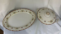 """Harmony House Wembley China 16"""" Oval Platter & Covered Vegetable Serve Bowl Read"""